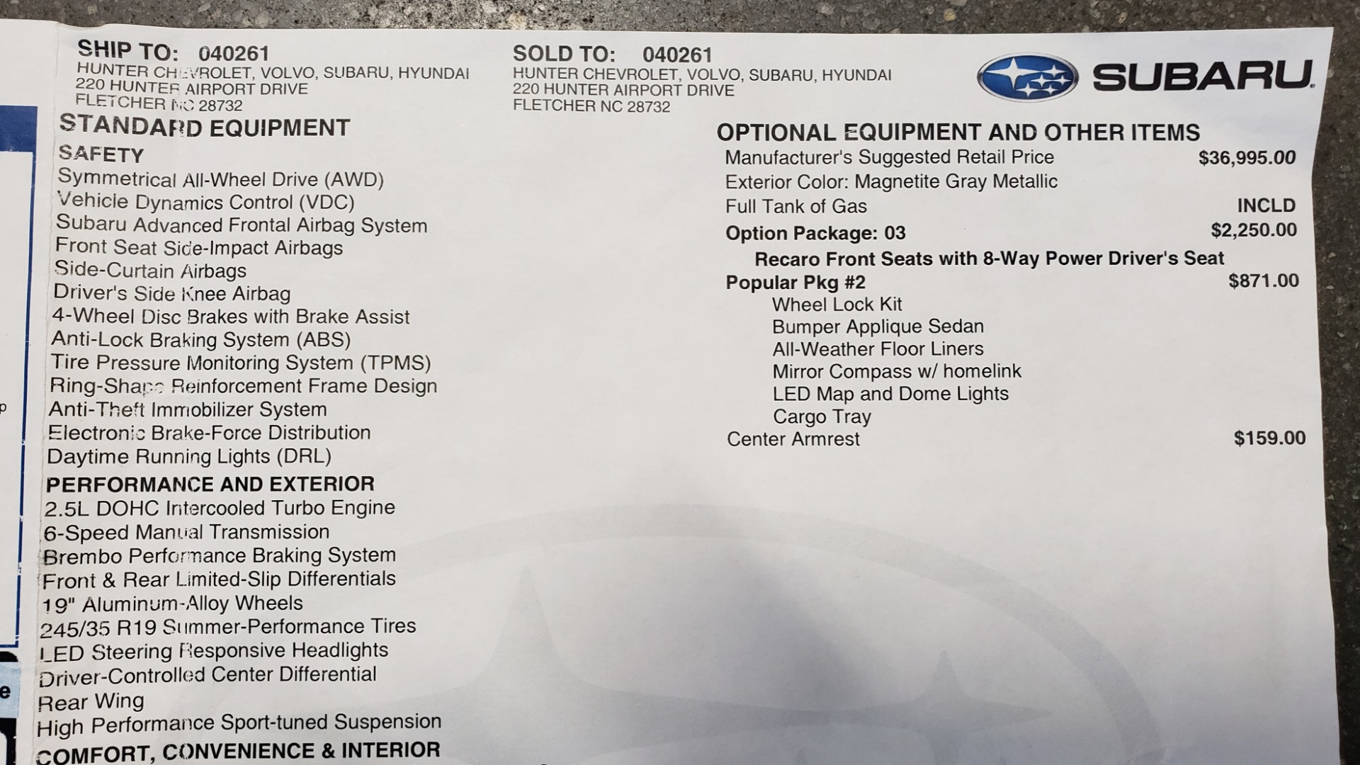 Used 2020 Subaru WRX STI 2.5L TURBO / 6-SPEED MANUAL / RECARO SEATS / REARVIEW for sale Sold at Formula Imports in Charlotte NC 28227 96
