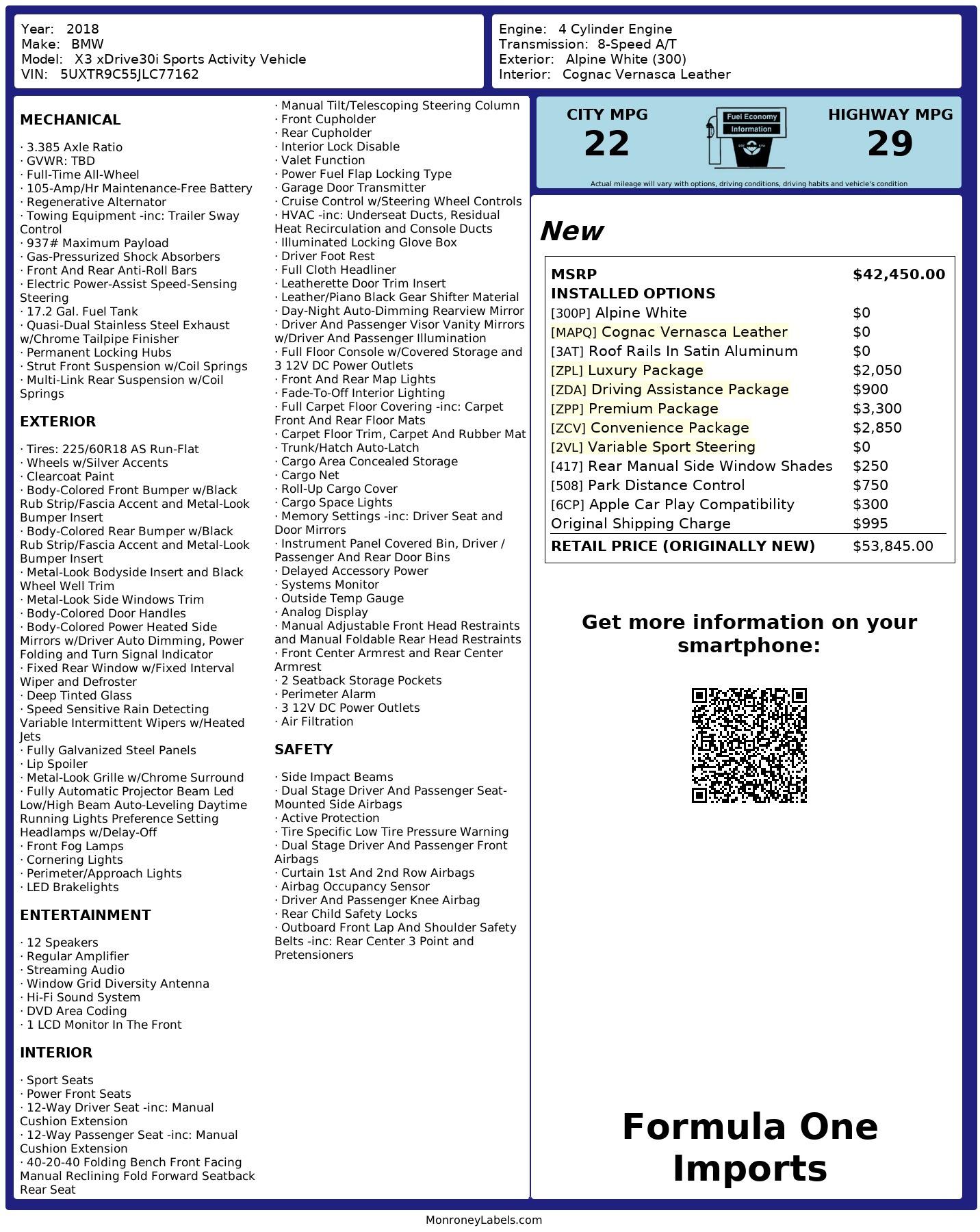 Used 2018 BMW X3 XDRIVE30I / LUX PKG / PREM PKG / CONV PKG / PDC / APPLE CARPLAY for sale Sold at Formula Imports in Charlotte NC 28227 96