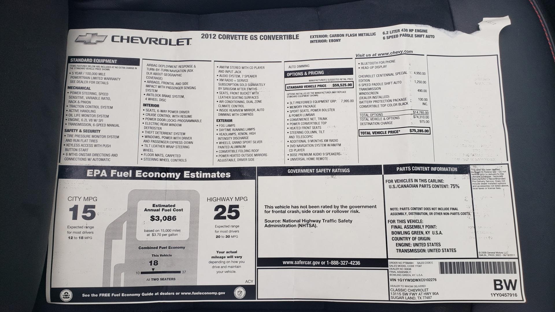 Used 2012 Chevrolet CORVETTE Z16 GRAND SPORT 3LT CONVERTIBLE / 6-SPD AUTO / NAV for sale $38,990 at Formula Imports in Charlotte NC 28227 86
