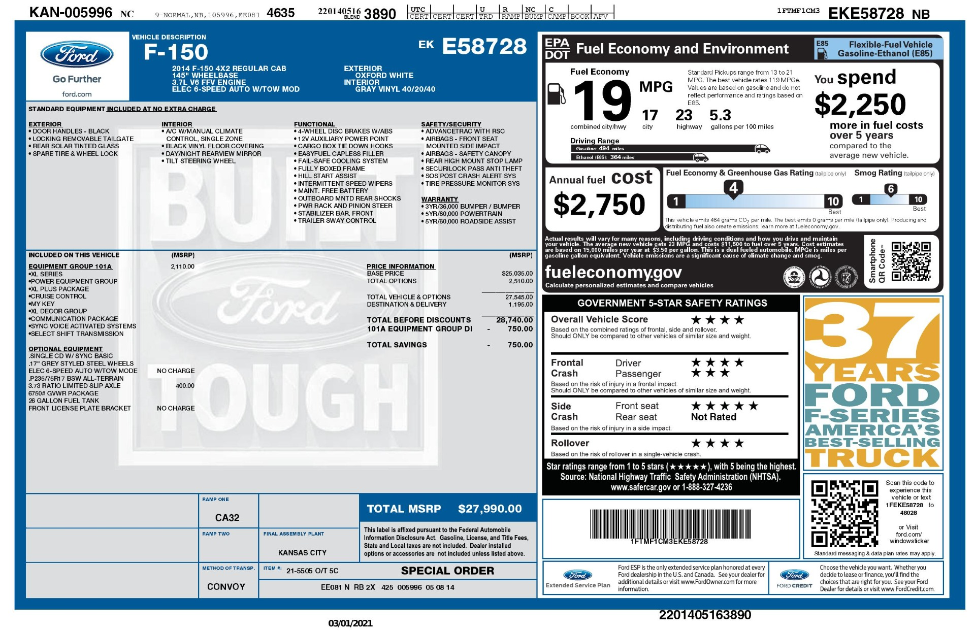 Used 2014 Ford F-150 XL / 2WD / V6 / AUTO / LONG BED / 145IN WB / WORK TRUCK for sale Sold at Formula Imports in Charlotte NC 28227 67
