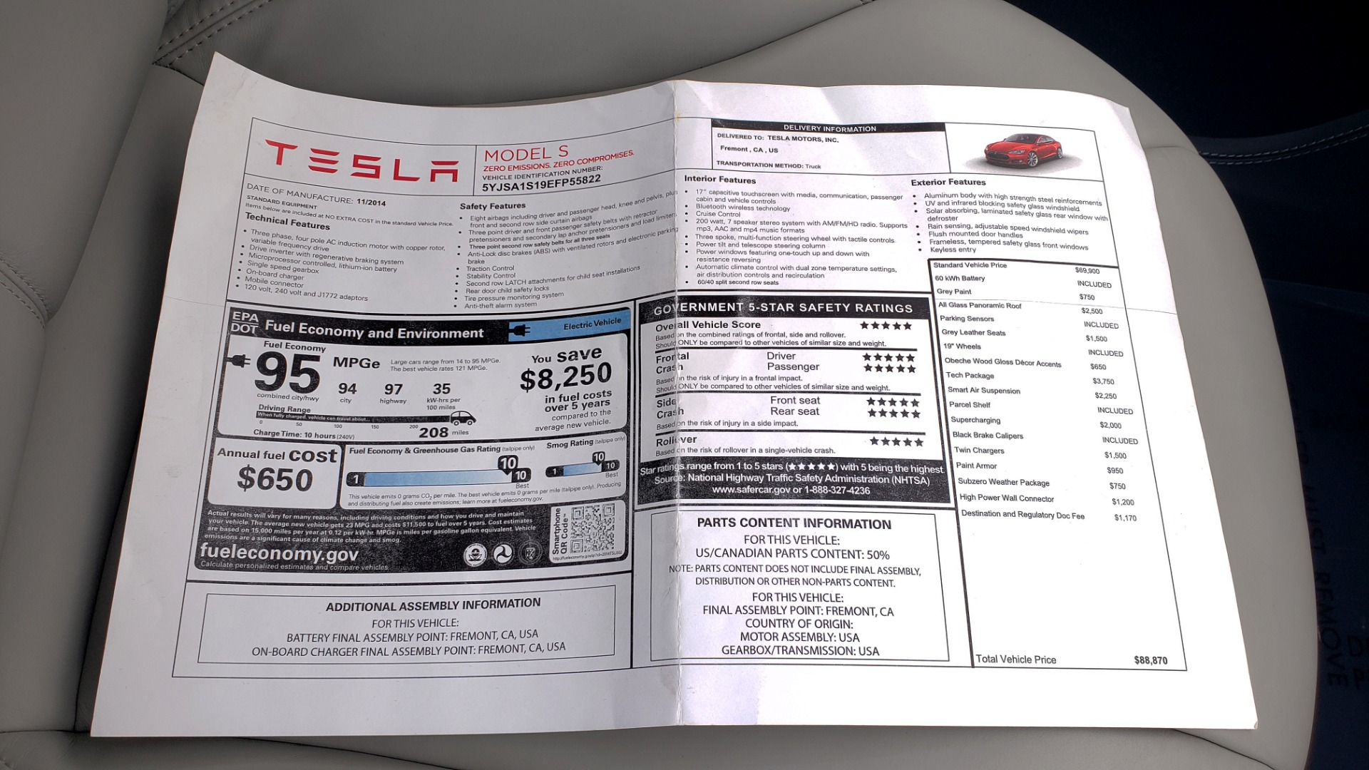Used 2014 Tesla MODEL S 60 kWh BATTERY / TECH / NAV / SUBZERO / SUNROOF / REARVIEW for sale Sold at Formula Imports in Charlotte NC 28227 74