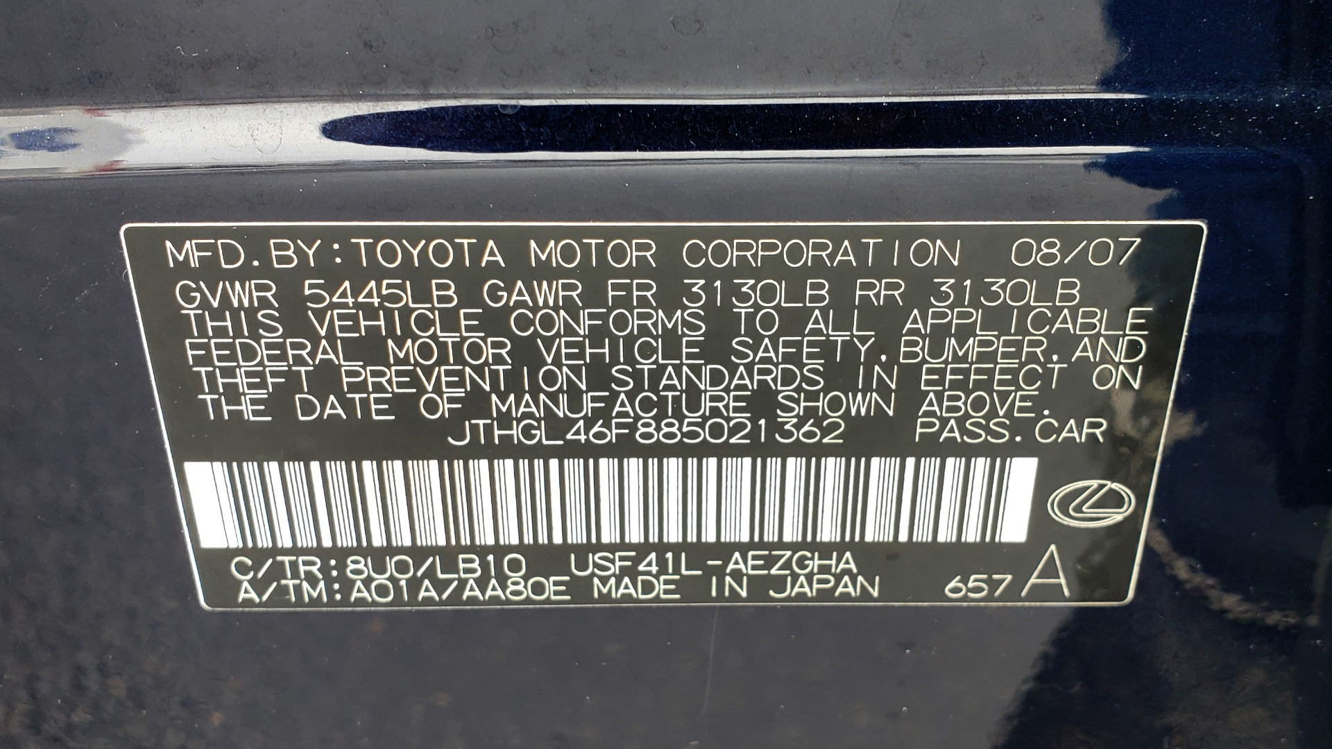 Used 2008 Lexus LS 460 LWB LUXURY SEDAN / MARK LEVINSON / INT PARK ASST / REARVIEW for sale Sold at Formula Imports in Charlotte NC 28227 91