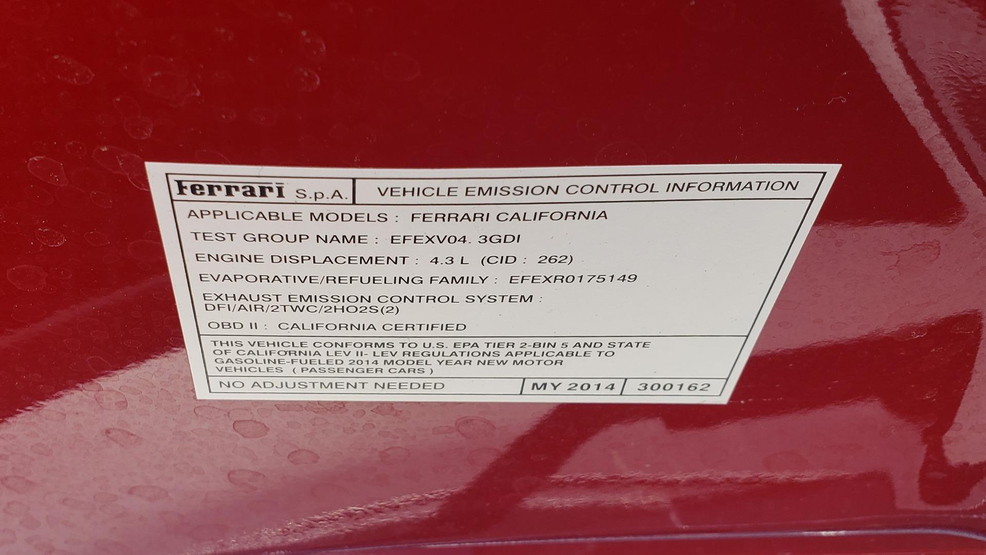Used 2014 Ferrari CALIFORNIA CONVERTIBLE 2+2 / NAV / PARK SENS / CAMERA / TPMS for sale Sold at Formula Imports in Charlotte NC 28227 39