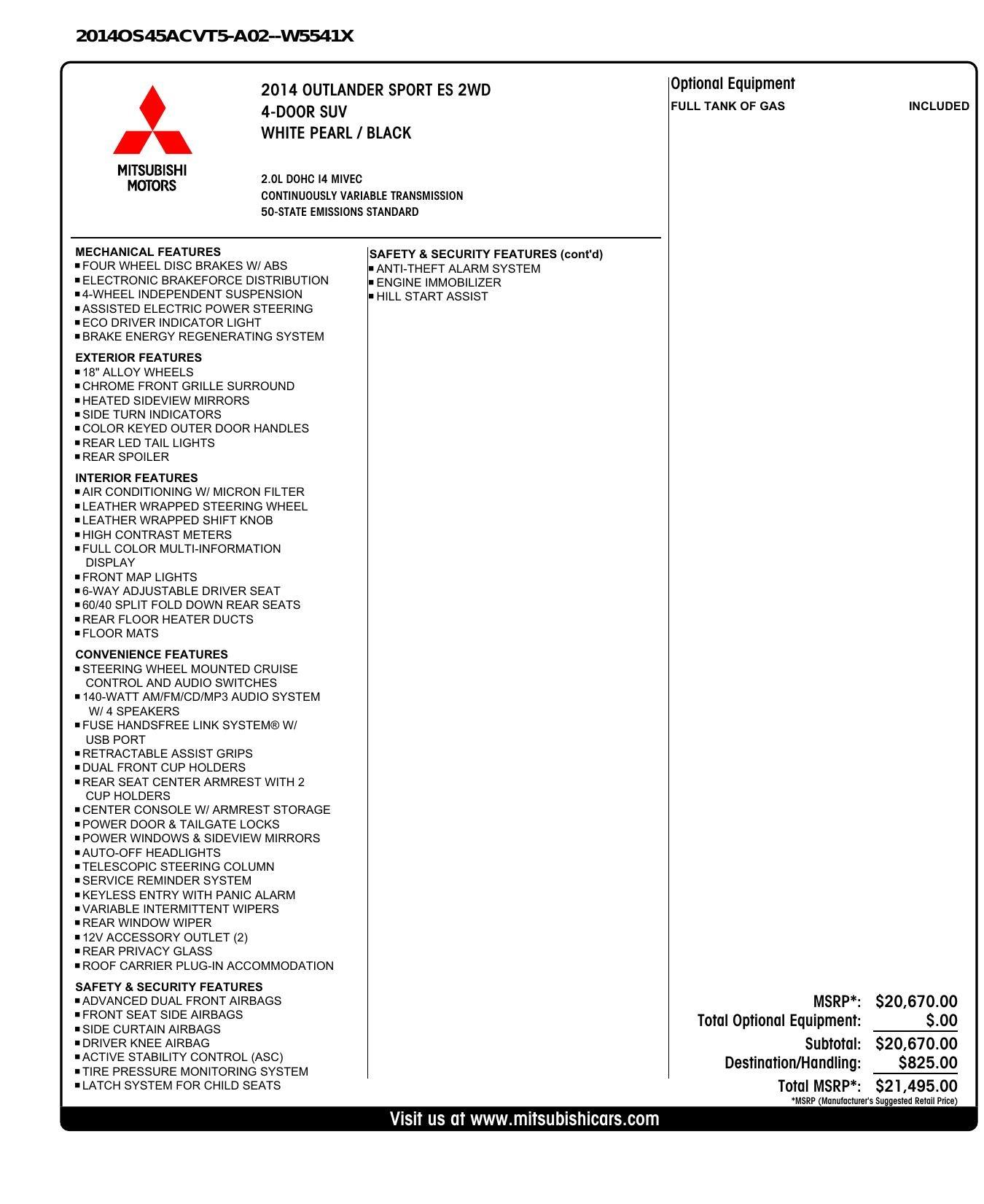 Used 2014 Mitsubishi OUTLANDER SPORT ES 2WD / 2.0L / CVT TRANS / 18IN WHEELS / 31MPG for sale $8,495 at Formula Imports in Charlotte NC 28227 66