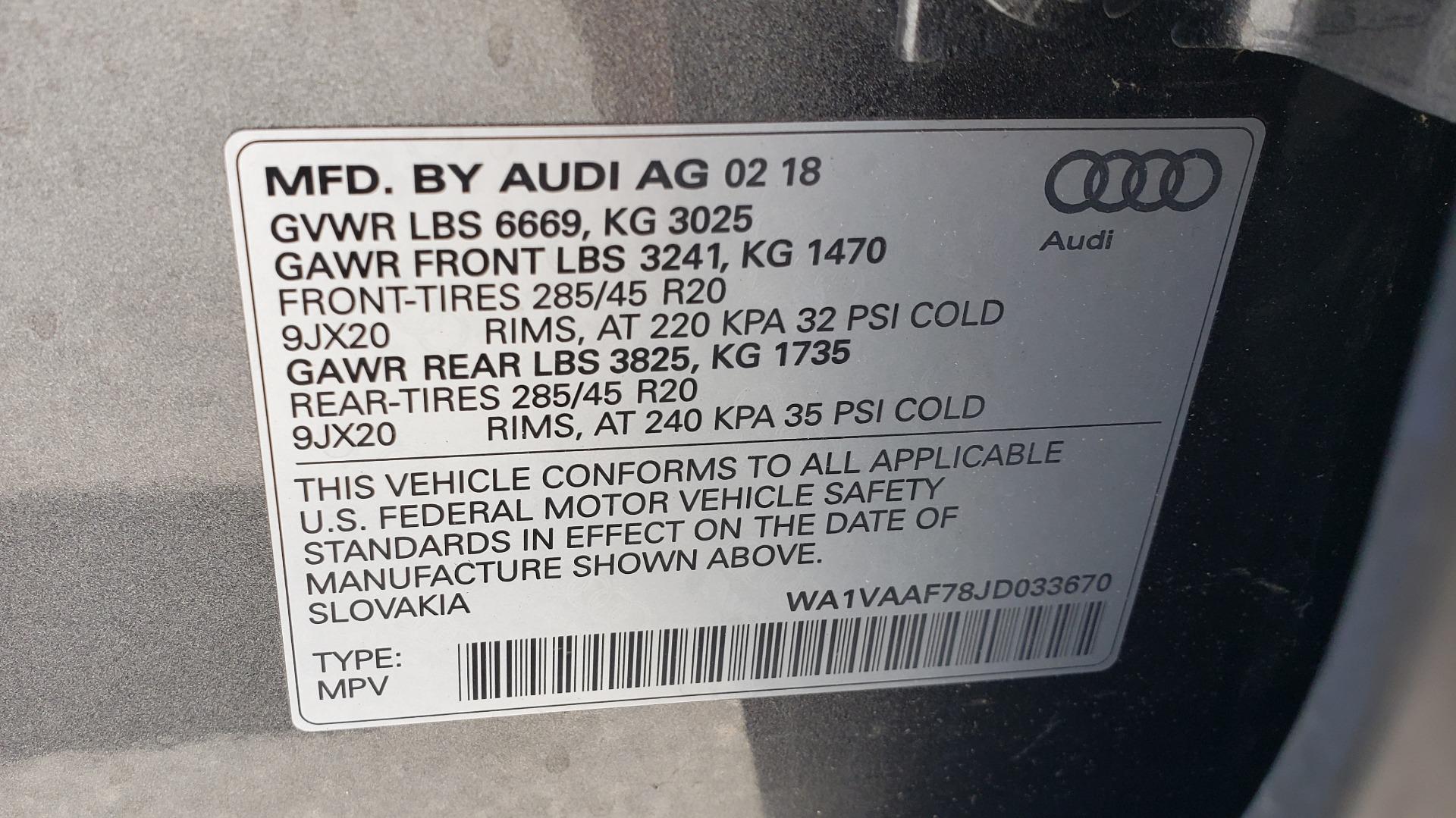 Used 2018 Audi Q7 PRESTIGE TIPTRONIC / NAV / SUNROOF / ADAPTIVE PKG / DRVR ASST / CLD WTHR /  for sale $49,995 at Formula Imports in Charlotte NC 28227 99