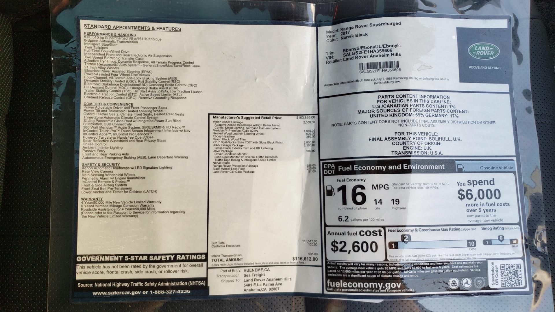 Used 2017 Land Rover RANGE ROVER SC V8 / VISION ASST / DRIVE PKG / MERIDIAN SOUND / PANO-ROOF / NAV / BSM for sale $75,995 at Formula Imports in Charlotte NC 28227 99