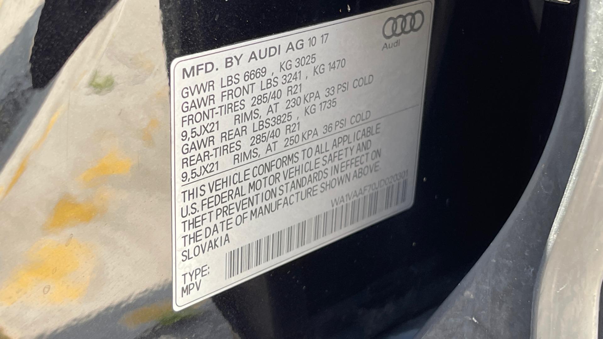 Used 2018 Audi Q7 PRESTIGE TIPTRONIC / NAV / SUNROOF / ADAPTIVE PKG / DRVR ASST / CLD WTHR /  for sale $49,995 at Formula Imports in Charlotte NC 28227 28