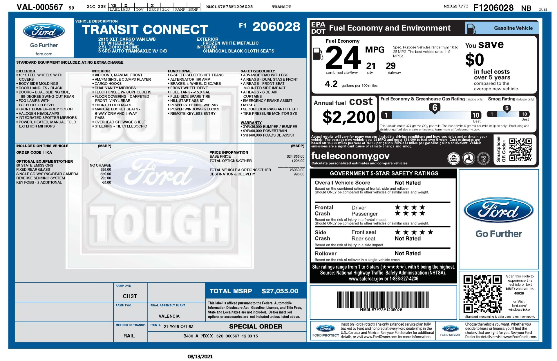 Used 2015 Ford TRANSIT CONNECT XLT CARGO VAN LWB / 2.5L 4-CYL / 6-SPD AUTO / ROOF RACK for sale $15,199 at Formula Imports in Charlotte NC 28227 67