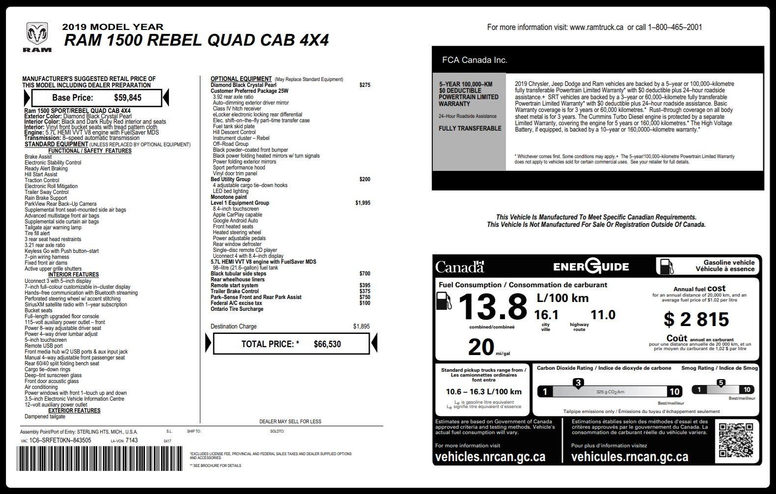 Used 2019 Ram 1500 REBEL QUADCAB 4X4 / 5.7L HEMI / 8-SPD AUTO / REMOTE START / PARK ASSIST for sale $44,495 at Formula Imports in Charlotte NC 28227 77