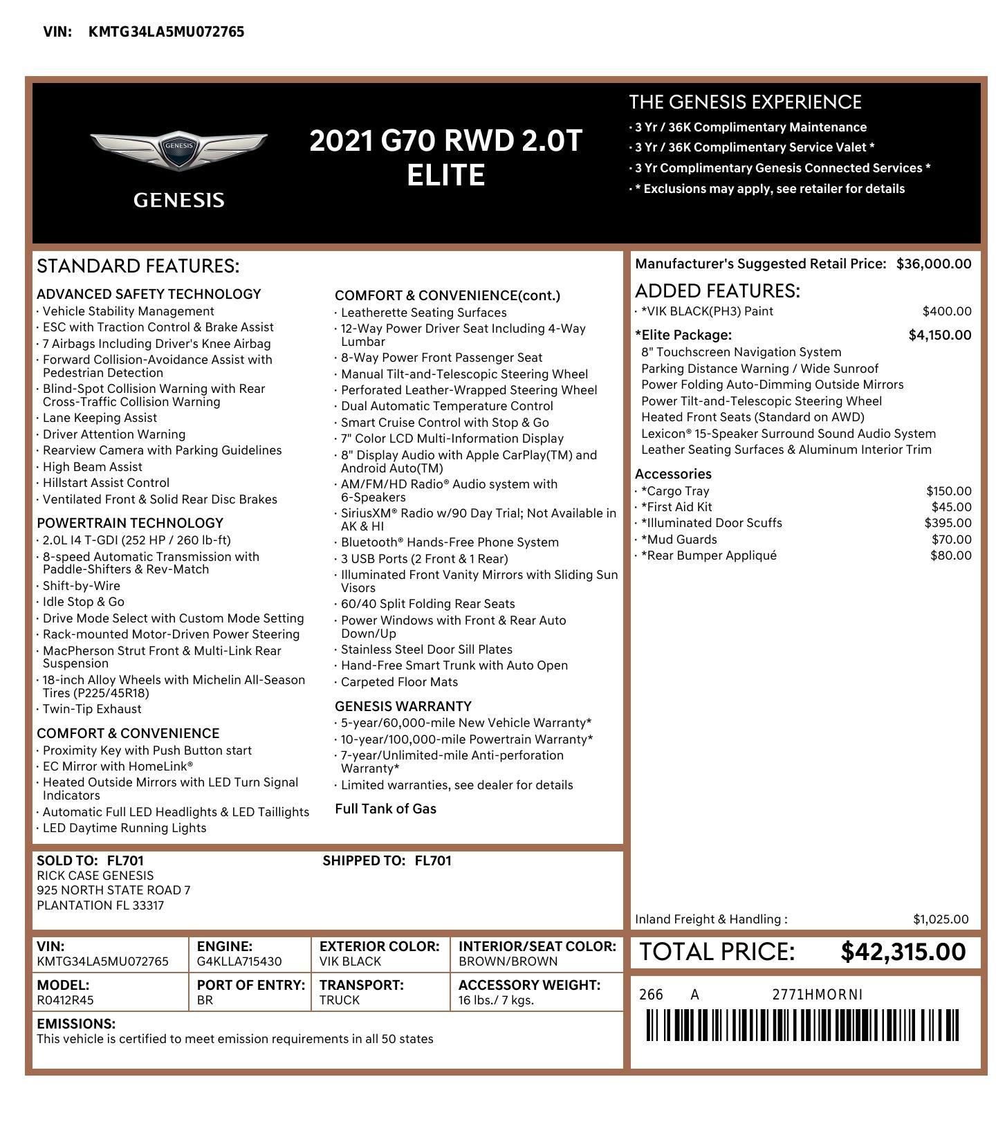 Used 2021 Genesis G70 ELITE 2.0T SEDAN / NAV / LANE ASST / BSA / SUNROOF / LEATHER / REARVIEW for sale $39,995 at Formula Imports in Charlotte NC 28227 67
