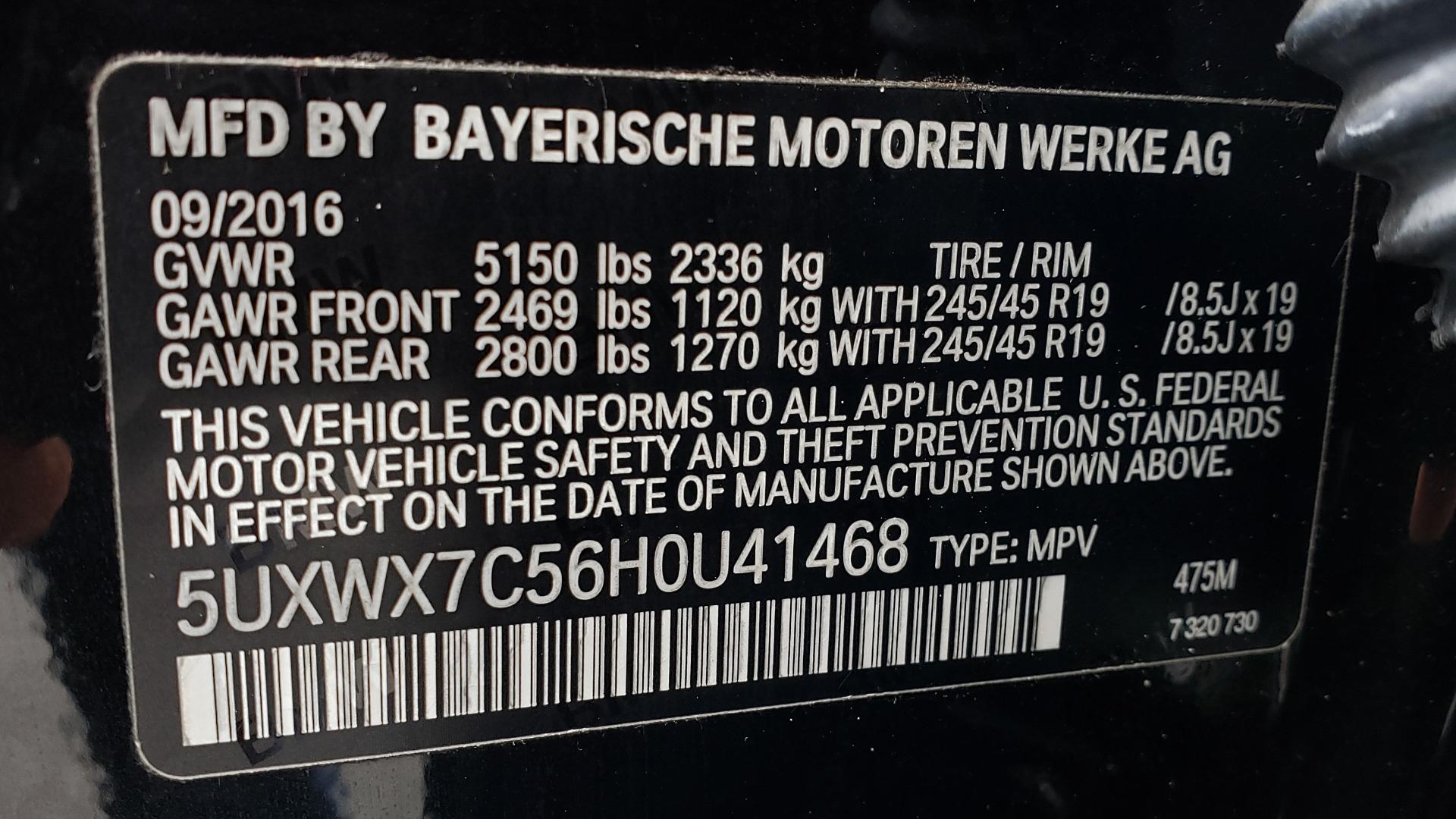 Used 2017 BMW X3 XDRIVE35I M-SPORT / DRVR ASST PLUS / TECHNOLOGY / HUD / BLIND SPOT for sale Sold at Formula Imports in Charlotte NC 28227 83