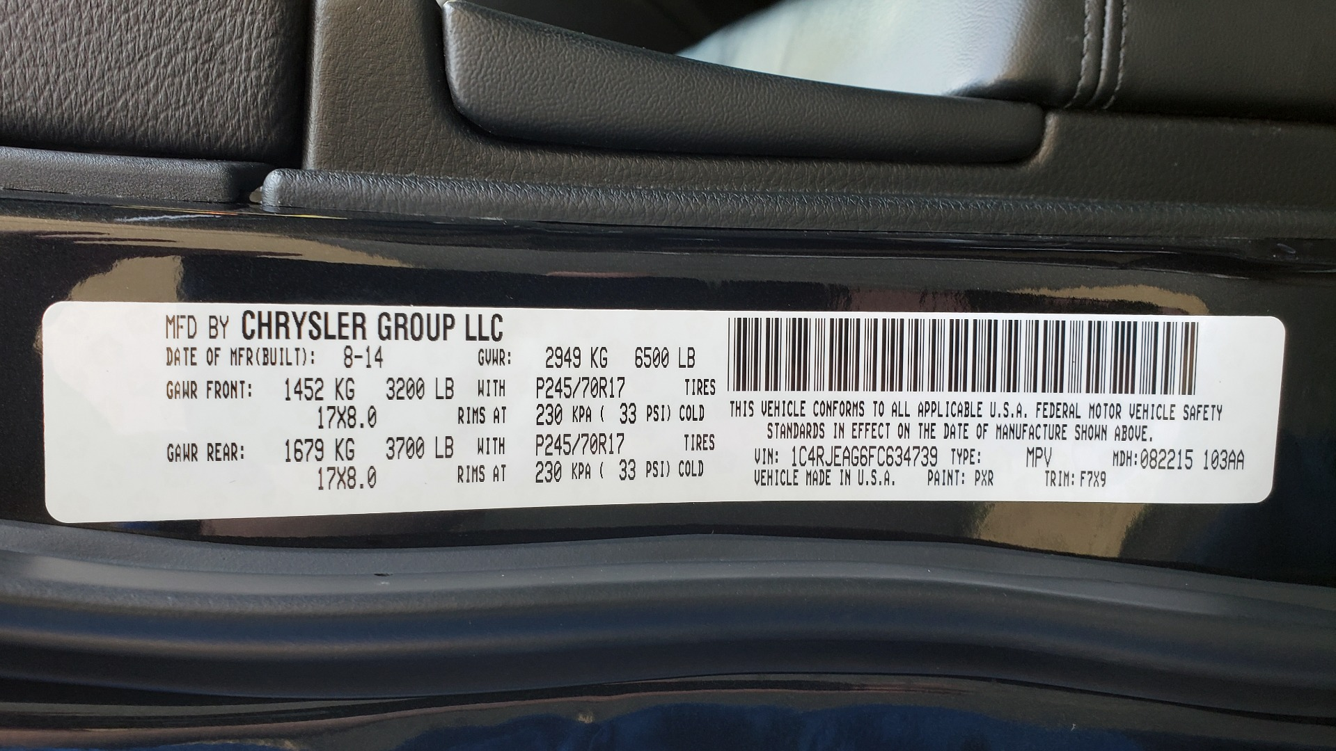 Used 2015 Jeep GRAND CHEROKEE LAREDO / 4X2 / 3.6L V6 / AUTO / 17IN WHEELS for sale Sold at Formula Imports in Charlotte NC 28227 65