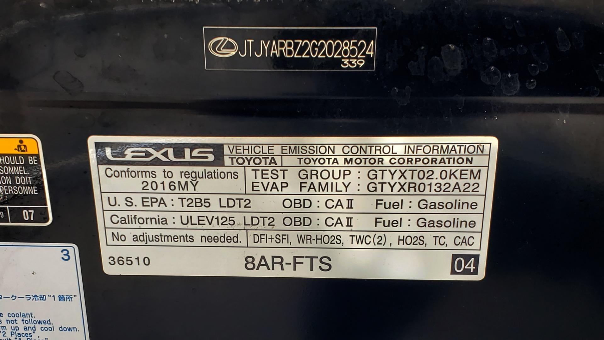 Used 2016 Lexus NX 200T PREM PKG / NAV / SUNROOF / PRE-COLLISION / PARK ASST for sale Sold at Formula Imports in Charlotte NC 28227 12