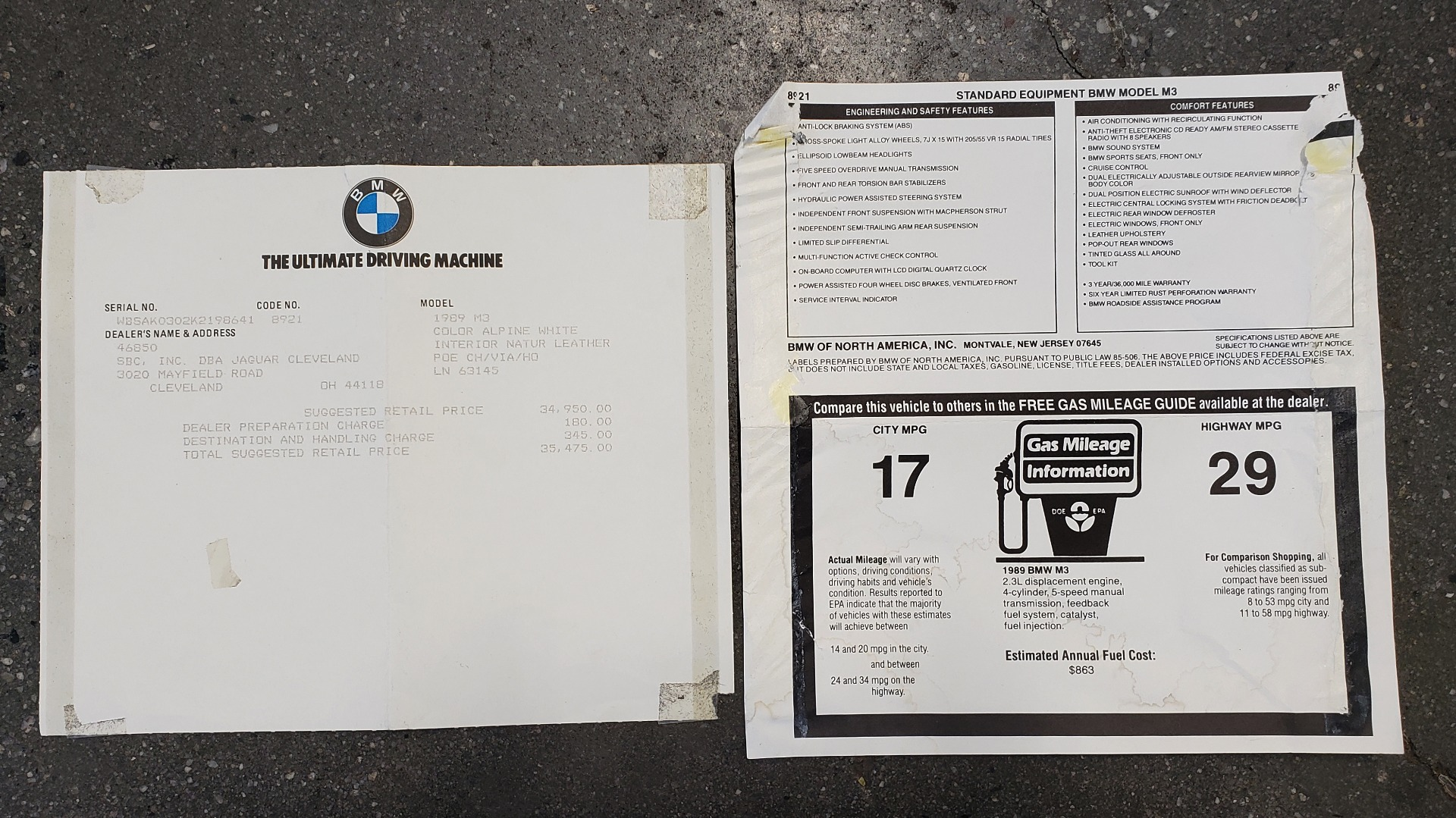 Used 1989 BMW M3 COUPE 2DR / 5-SPEED MAN / LOW MILES / SUPER CLEAN for sale Sold at Formula Imports in Charlotte NC 28227 96