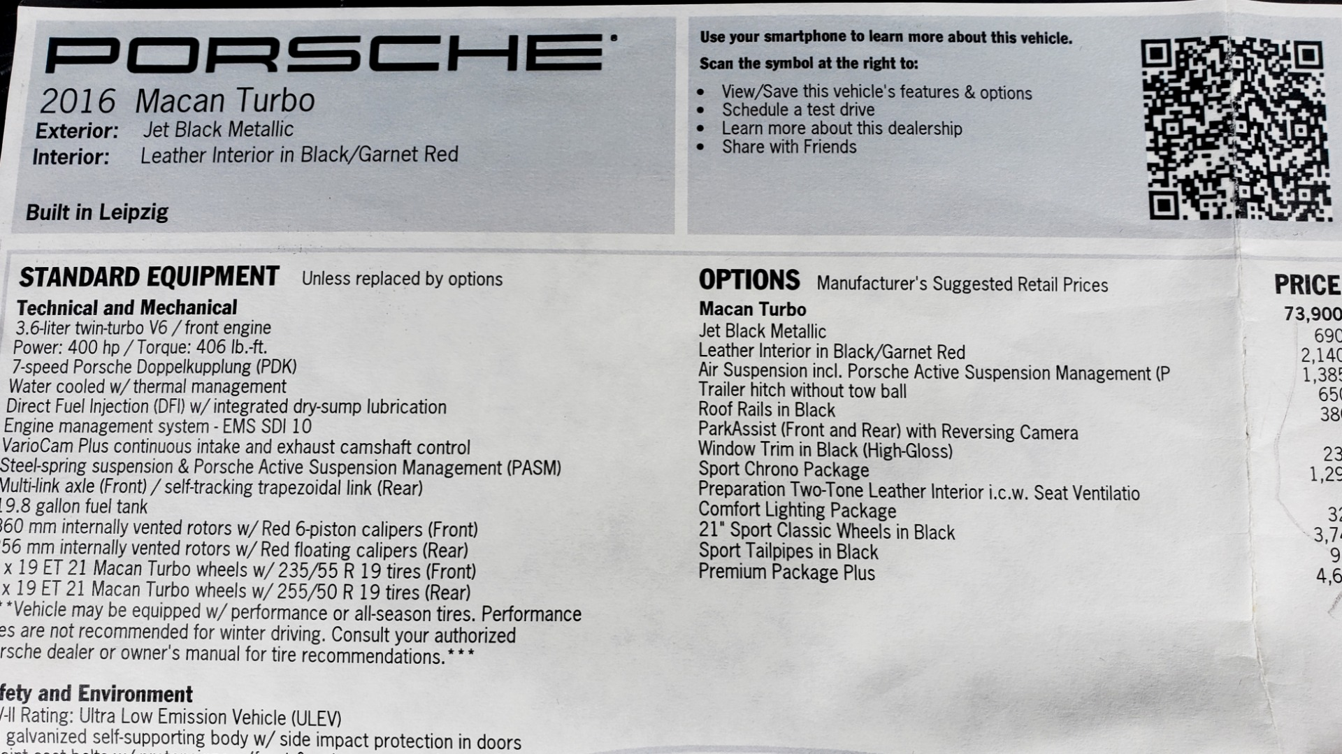 Used 2016 Porsche MACAN TURBO / PREM / NAV / PARK ASST / BOSE / PDK / CHRONO PKG for sale Sold at Formula Imports in Charlotte NC 28227 94