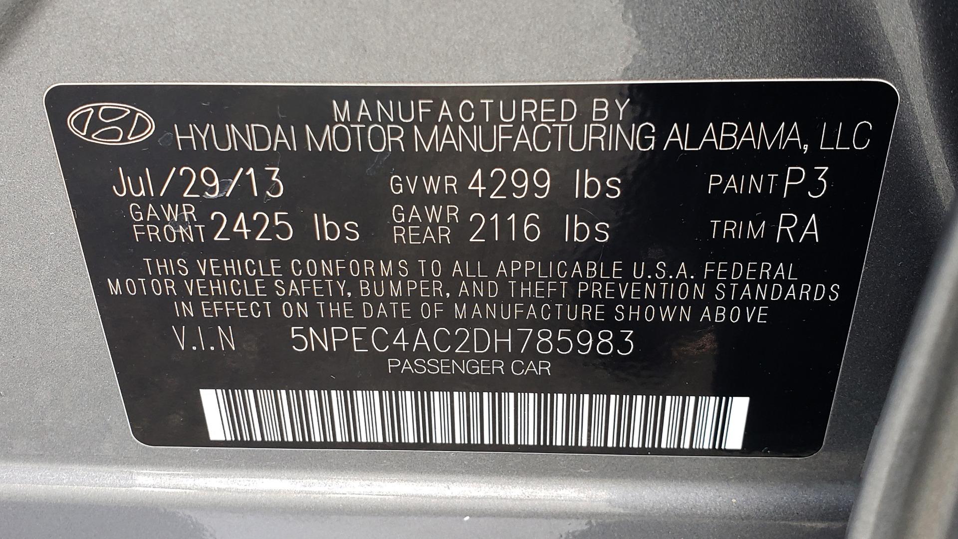 Used 2013 Hyundai SONATA SE AUTO / 2.4L 4-CYL / 6-SPD AUTO / VERY CLEAN for sale Sold at Formula Imports in Charlotte NC 28227 79