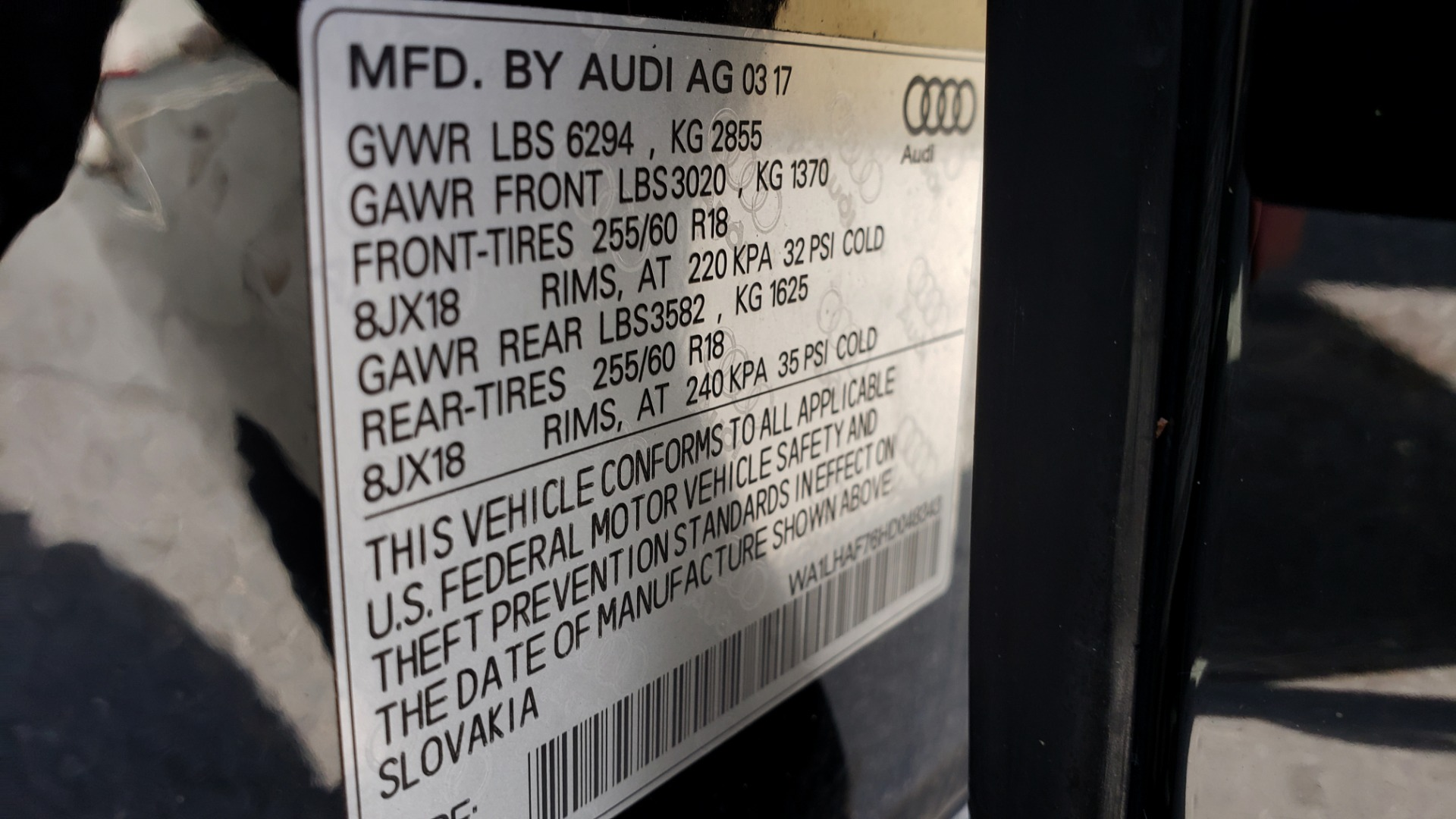 Used 2017 Audi Q7 PREMIUM PLUS / VISION PKG / NAV / PANO-ROOF / 3-ROW / REARVIEW for sale Sold at Formula Imports in Charlotte NC 28227 94