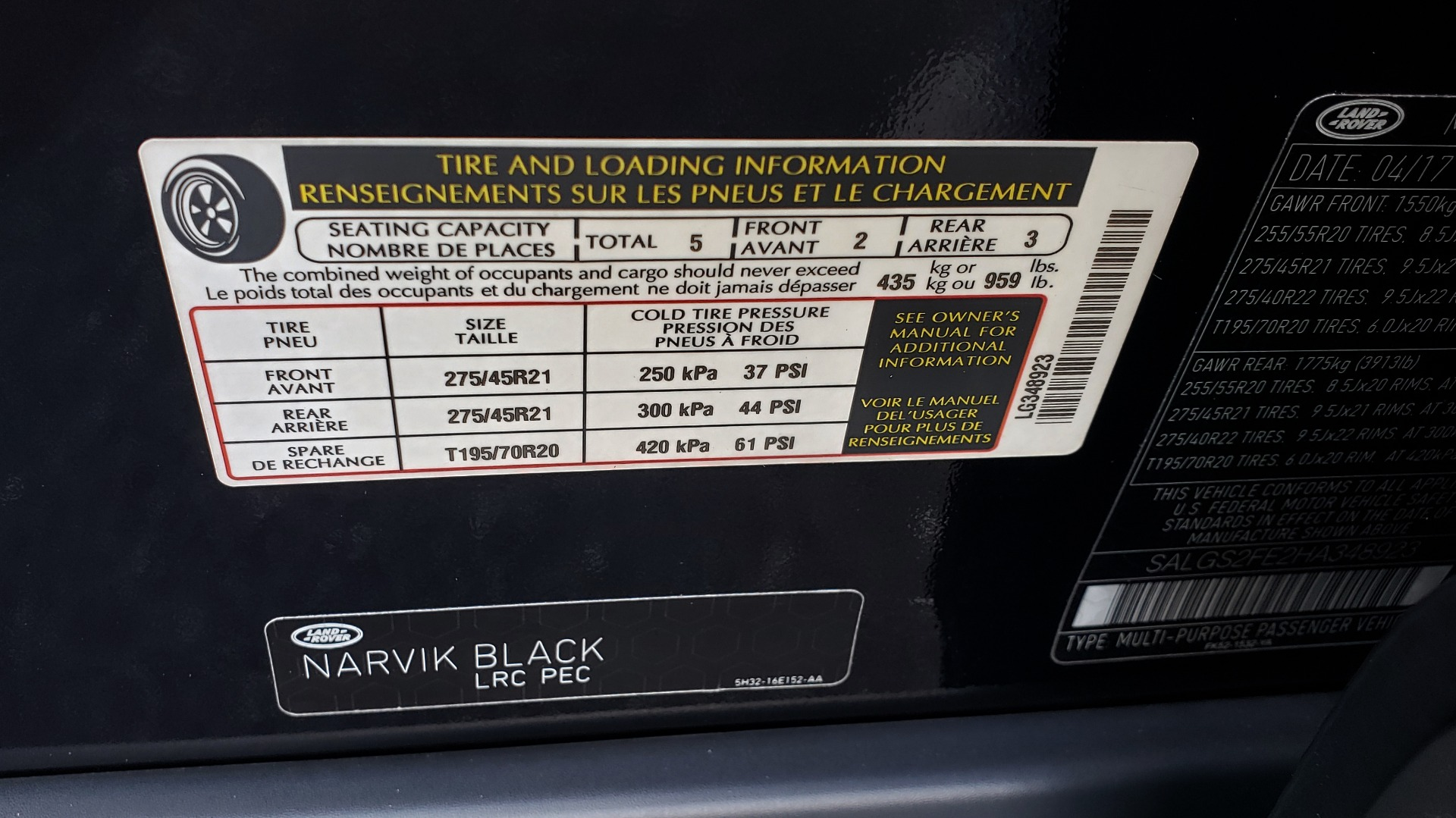 Used 2017 Land Rover RANGE ROVER SC V8 / NAV / PANO-ROOF / DRIVE PRO / MERIDIAN / REARVIEW for sale Sold at Formula Imports in Charlotte NC 28227 95