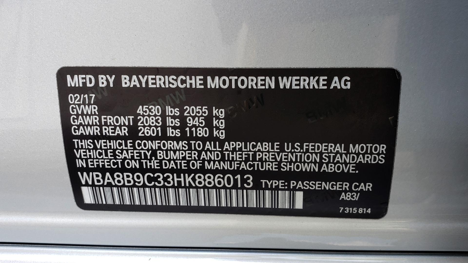 Used 2017 BMW 3 SERIES 330I SPORT SEDAN / DRVR ASST PKG / SUNROOF / REARVIEW for sale Sold at Formula Imports in Charlotte NC 28227 85