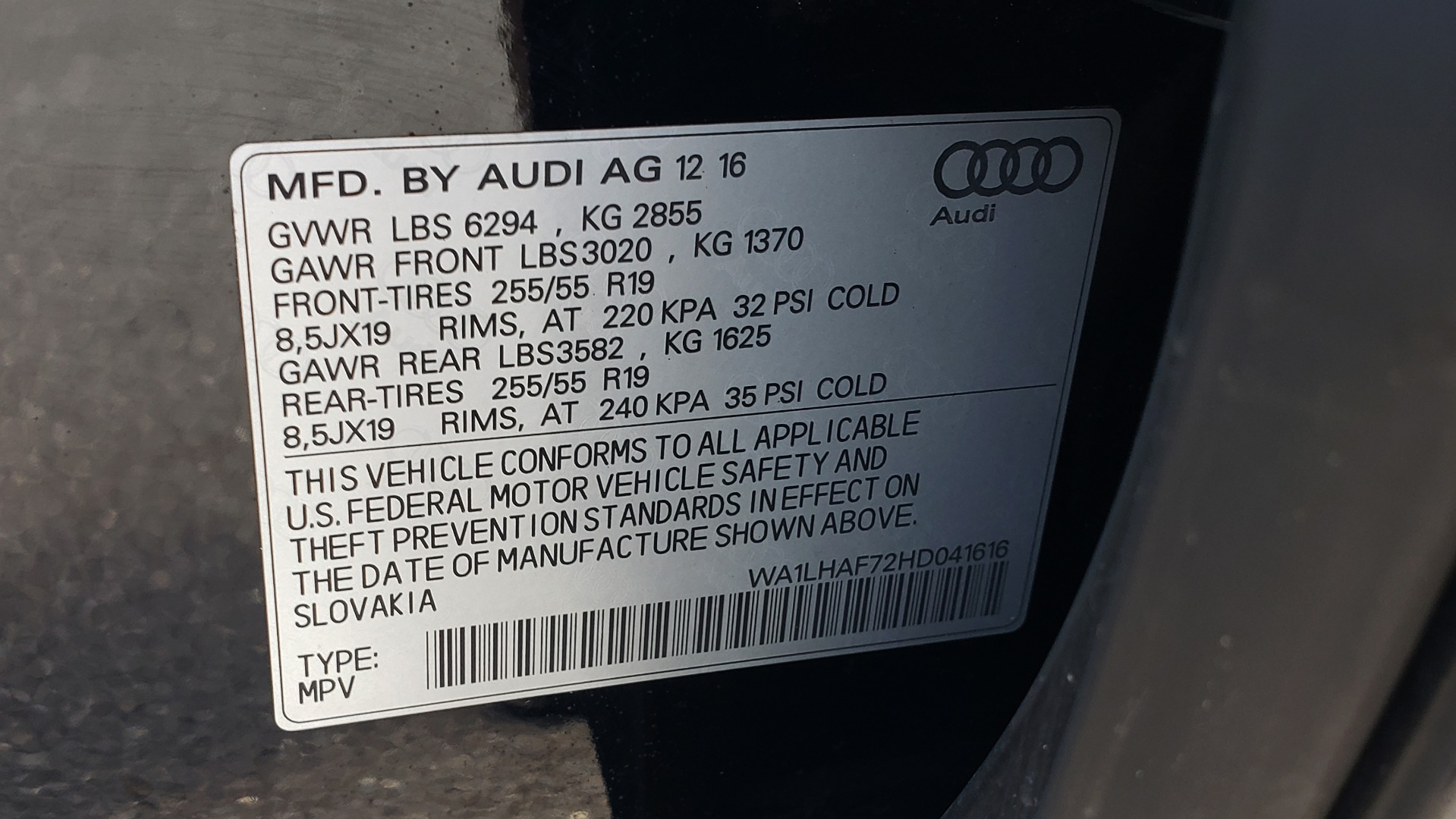 Used 2017 Audi Q7 PREMIUM PLUS / NAV / CLD WTHR / 3-ROW / REARVIEW for sale $35,399 at Formula Imports in Charlotte NC 28227 93