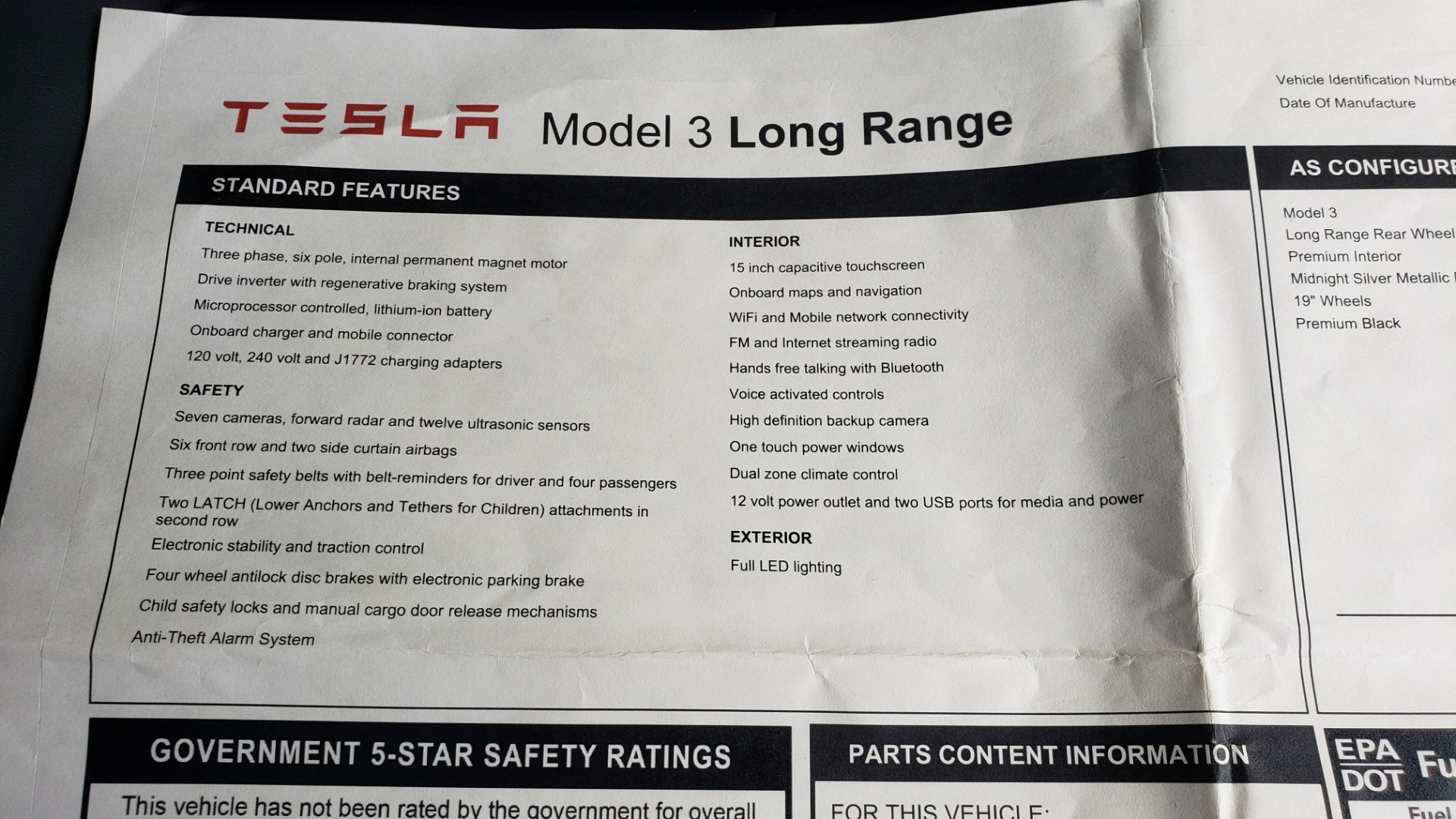 Used 2018 Tesla MODEL 3 LONG RANGE BATTERY / NAV / GLASS ROOF / REARVIEW for sale Sold at Formula Imports in Charlotte NC 28227 81