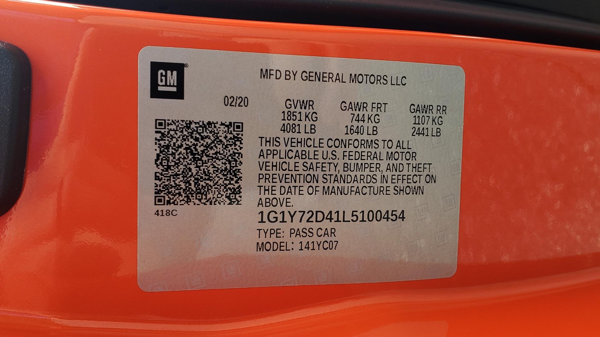 Used 2020 Chevrolet CORVETTE C8 STINGRAY 2LT / 6.2L V8 / 8-SPD AUTO / NAV / BOSE / REARVIEW / DATA RECOR for sale Sold at Formula Imports in Charlotte NC 28227 91