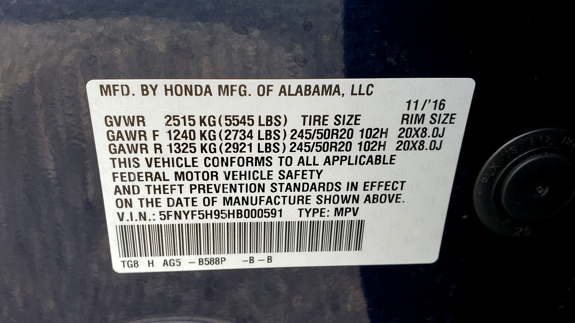 Used 2017 Honda PILOT TOURING 2WD / NAV / SUNROOF / 3-ROW / ENT SYS / REARVIEW for sale Sold at Formula Imports in Charlotte NC 28227 86