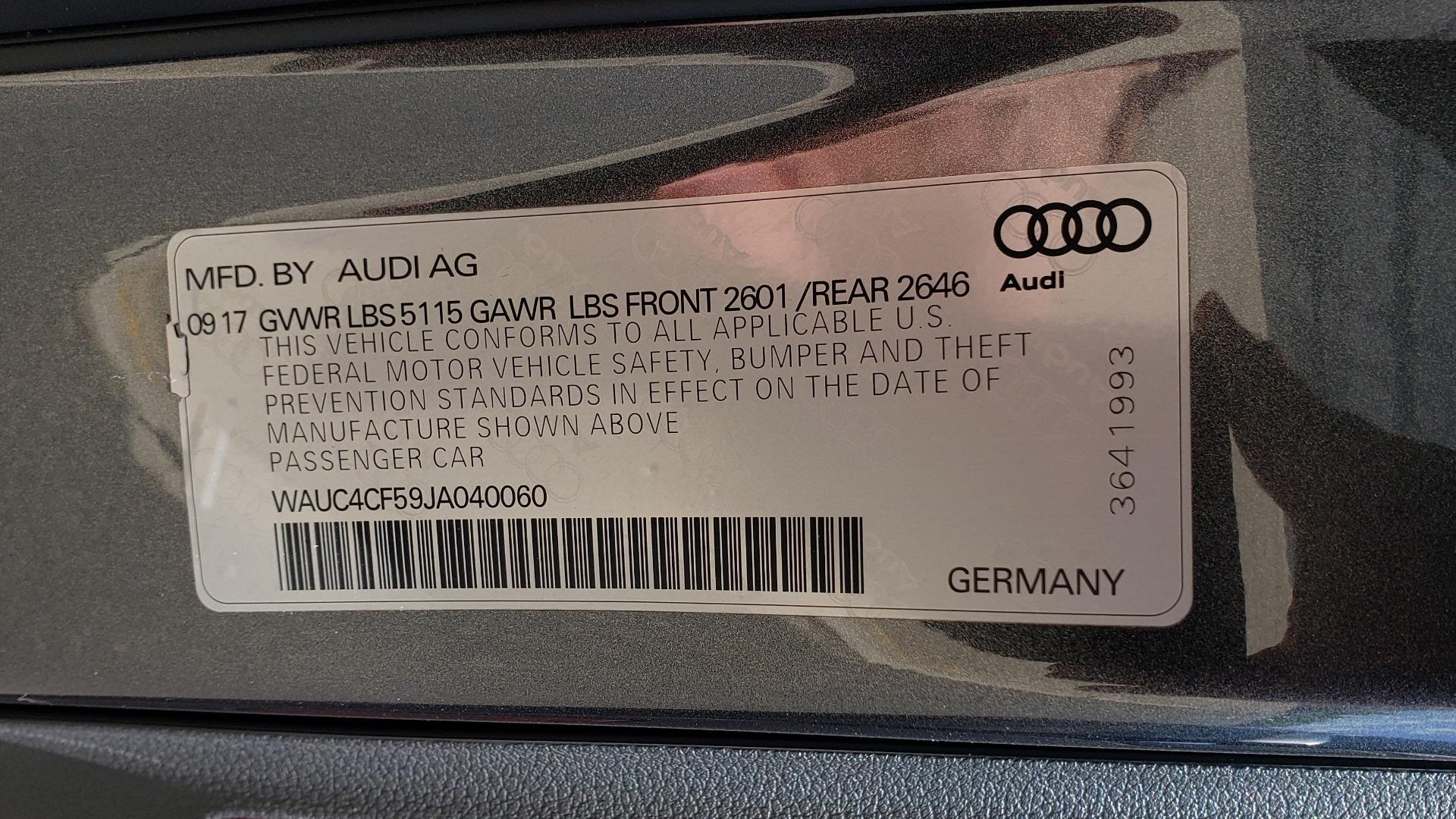 Used 2018 Audi S5 SPORTBACK PRESTIGE S-SPORT / NAV / SUNROOF / HUD / B&O SND / REARVIEW for sale $48,995 at Formula Imports in Charlotte NC 28227 81