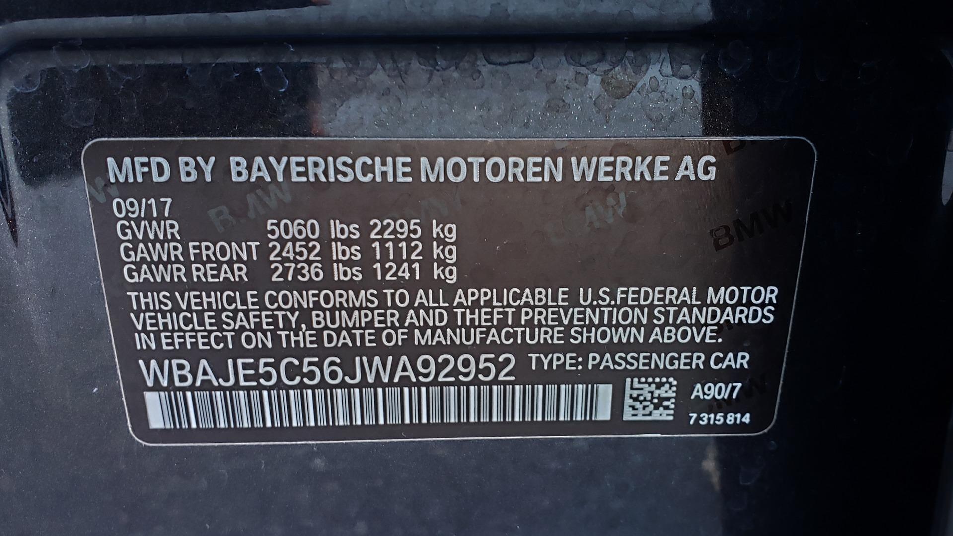 Used 2018 BMW 5 SERIES 540I M-SPORT / DRVR ASST / EXEC PKG / NAV / SUNROOF / HUD / REARVIEW for sale Sold at Formula Imports in Charlotte NC 28227 86