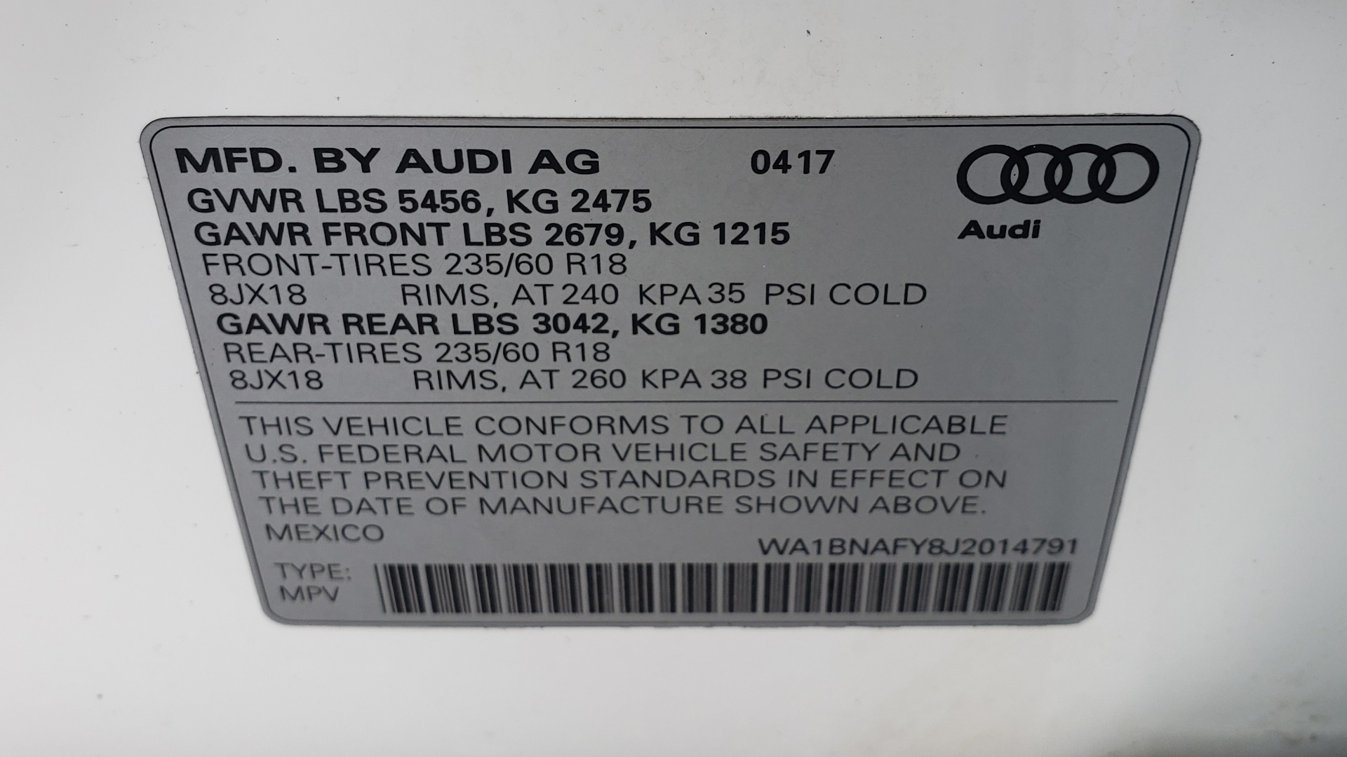Used 2018 Audi Q5 PREMIUM PLUS / NAV PKG / SUNROOF / CLD WTHR / REARVIEW for sale Sold at Formula Imports in Charlotte NC 28227 96