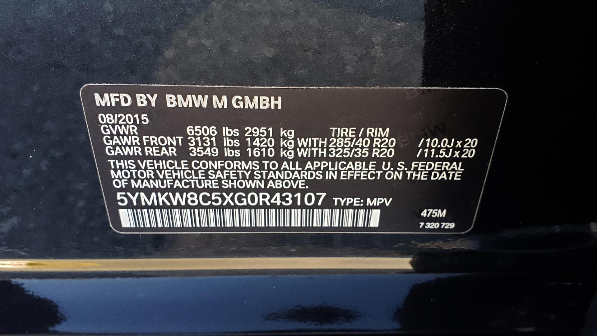 Used 2016 BMW X6 M EXEC PKG / DRVR ASST / NAV / SUNROOF / BLIND SPOT / REARVIEW for sale Sold at Formula Imports in Charlotte NC 28227 97