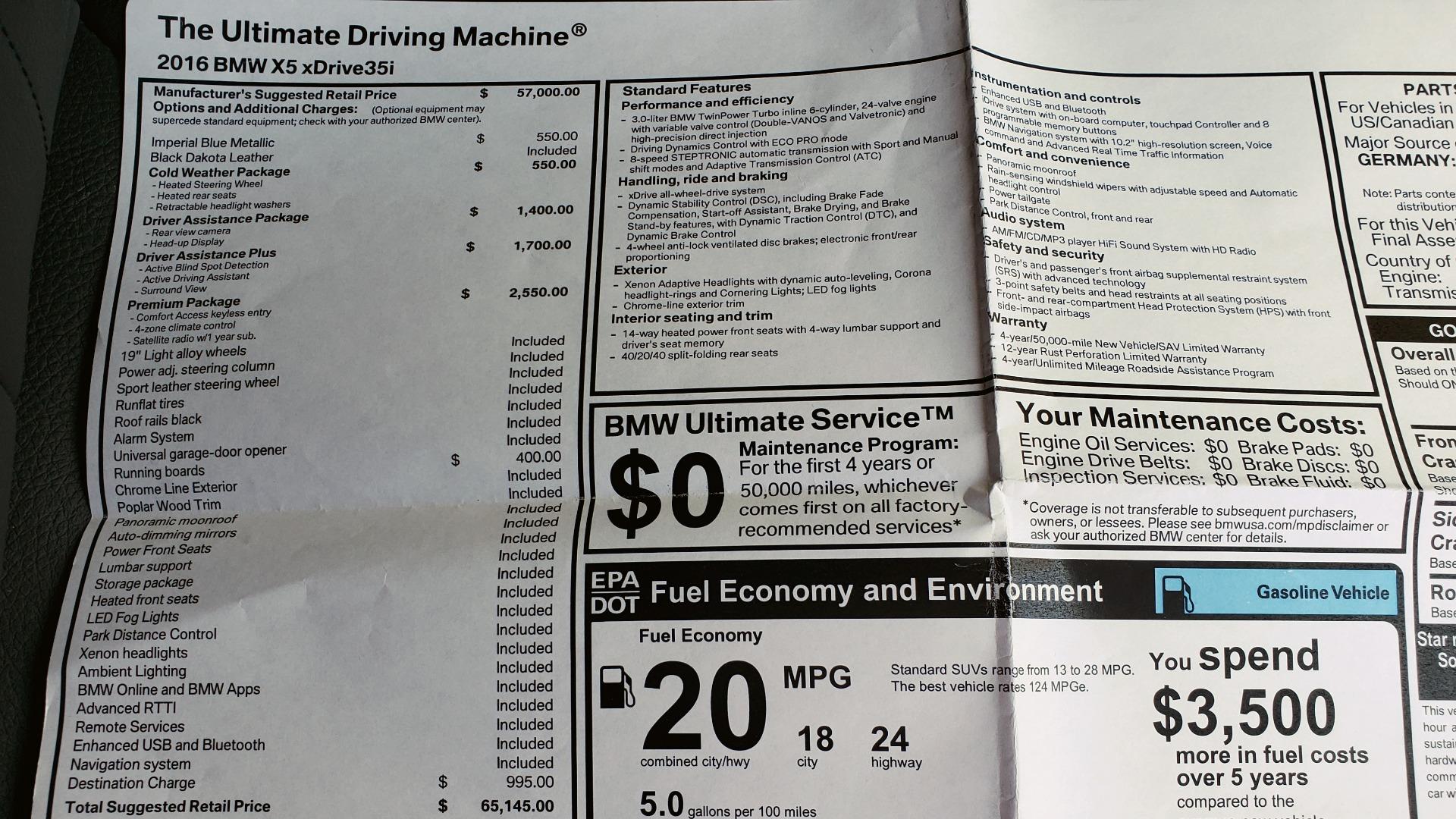 Used 2016 BMW X5 XDRIVE35I / PREM PKG / NAV / DRVR ASST PLUS / REARVIEW for sale $25,765 at Formula Imports in Charlotte NC 28227 73