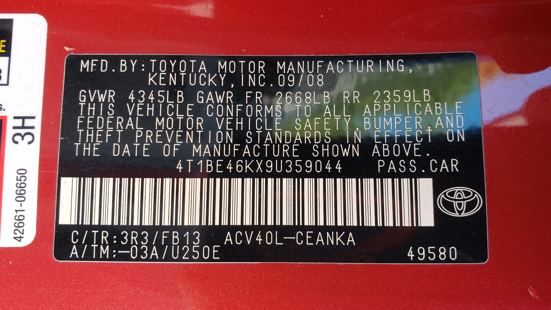 Used 2009 Toyota CAMRY LE / 2.4L SEDAN / FWD / 4-CYL / AUTO / CLOTH / CLEAN for sale Sold at Formula Imports in Charlotte NC 28227 66