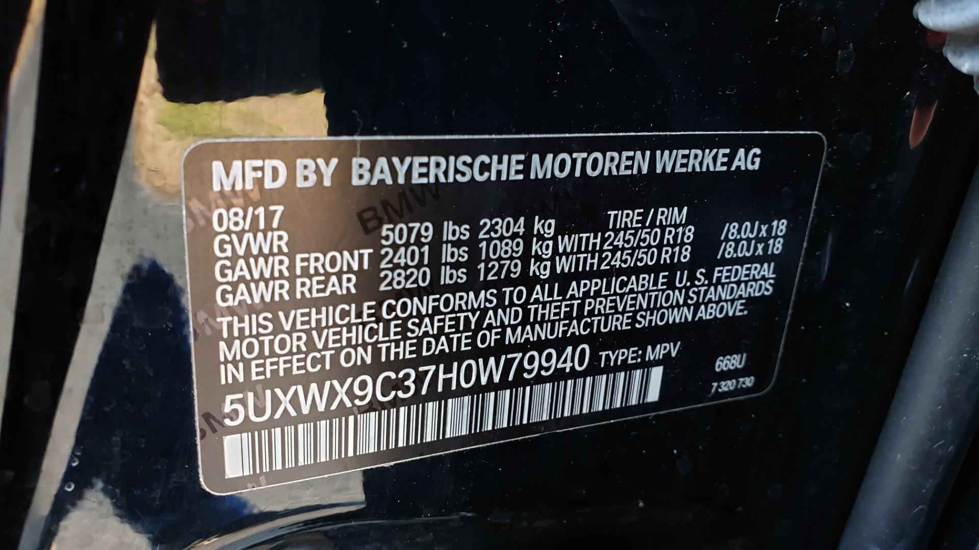 Used 2017 BMW X3 XDRIVE28I / PREM PKG / NAV / DRVR ASST / HTD STS / CAMERAS for sale Sold at Formula Imports in Charlotte NC 28227 98